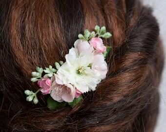 Pink Hair Comb, Bridal Hair Comb, Wedding Hair Accessories, Silk Hair Flowers, Flower Hair Clip, Flower Hair Pin,  Pink Hair Accessories
