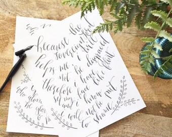 8 X 10 Custom Calligraphy