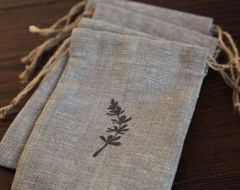 Handmade, hand stamped drawstring linen pouch