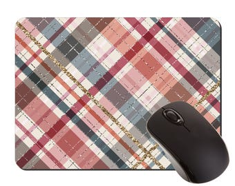 Mouse Pad Plaid for Fall | Pattern Desk Mat | Fall Colors | Home Office Decor | Mousepads | Fashion Desk | Back to School | Girl Boss Gift