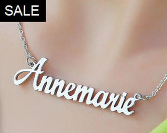 Silver Name Necklace, Name Necklace, Personal Necklace, Personalized Name Necklace ONLY 31.20