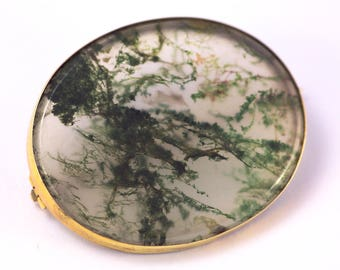 Antique Victorian English 15K Gold Natural Translucent Moss Agate Brooch c1900