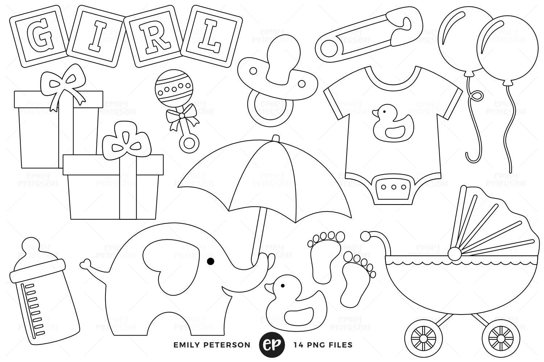 Line Art Etsy : Off sale baby shower digital stamps girl line