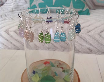 Sterling silver Seaglass wire wrapped earrings