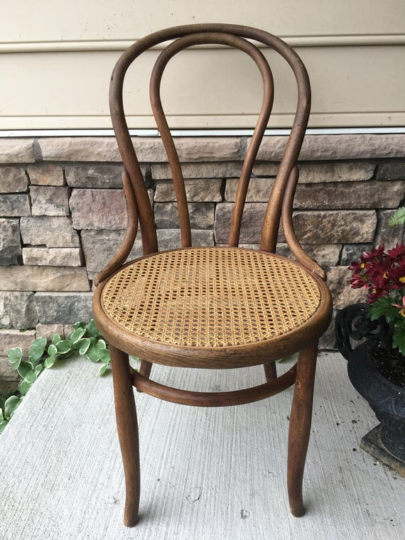 Bentwood Cane Chair With Diagonal Weave ~ Round Ice Cream Chair ~ Cafe Chair  ~ Bistro Chair With Cane Seat ~ Original Cane ~ Caned Furniture
