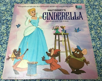 Cinderella, 1969 illustrated book & 2 records, the story and the songs, vinyl/record LP, very good condition