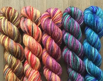 Hand Dyed Yarn Mini, DK Weight 4ply, 100% Superwash Merino, Mini Skein Set, Carnival Mix Five Pack on Stout DK