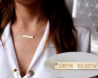 Personalized Gold bar Necklace, Silver Bar Necklace, Custom Gold Bar, Engraved Necklace, Name Bar Necklace, Personalized Gold Bar Necklace