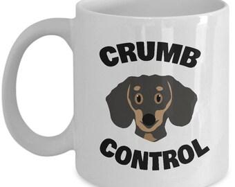 CRUMB CONTROL Cute Dachshund Mug - Dachshund Mugs, Dachshund Coffee Mugs, Dachshund Gifts, Dachshund Christmas Gift, Weiner Dog Mug, Doxie