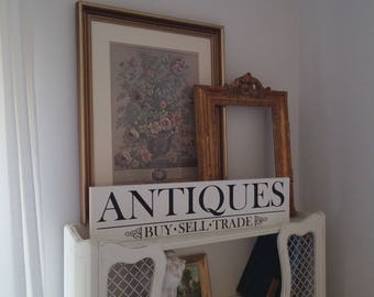 "Antiques Sign, Hand Painted Antiques Sign, Vintage Inspired Sign/ 5.5""x24"""