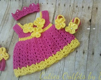 Hot Pink Crochet Baby Dress, Infant Baby Set, Baby Girl Outfit, Newborn Baby Outfit, Coming Home Outfit, Conjunto Tejido de Bebe, Vestido