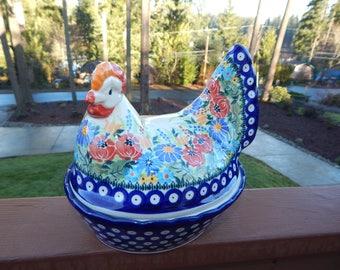 Floral Polish Pottery Chicken Baker