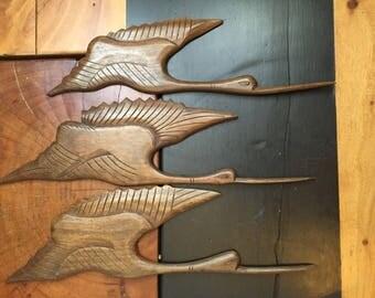 Vintage Mid Century Carved Teak Flying Bird Wall Hangings Set of 3