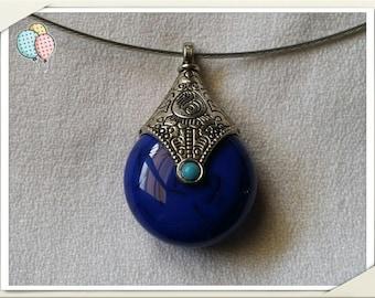 Ethnic pendant blue lapis lazuli Choker necklace