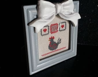 Should you wish: red and grey DMC framed cross stitch pattern