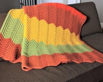Vintage Striped/Chevron Multi-Color (Brown, Orange, Yellow, Green) Afghan