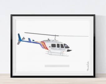 Helicopter Wall Art, Bell Helicopter Boy Nursery Decor, Transportation Art, Nursery Decor, Helicopter Decor, Boys Room Wall Art, Printable