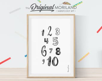 Numbers Print, Numbers Poster, Nursery Print Numbers, Black and White Nursery, Girls Room Print, Nursery Art, 123 Print, Instant Download