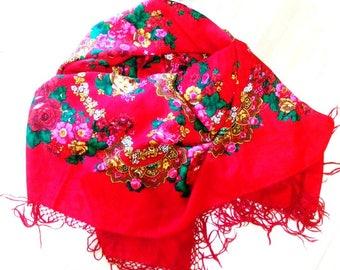 Big Vintage Ukrainian shawl, Floral scarf, made in USSR,  folk russian shawl,russian shawl, pure wool,Floral russian shawl, Flowers on shawl