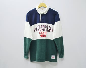 PORTLAND Shirt Vintage 90's PORTLAND Team Yachting Staff 134 Made in Japan Long Sleeve Rugby Polo Shirt Size L