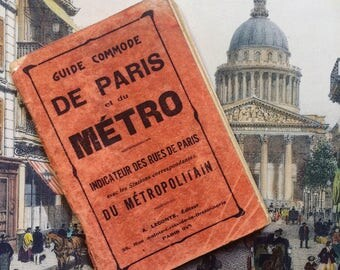Convenient guide to Paris and Metro. A.Leconte. 1931 the streets of Paris guide. Metro map. french vintage. Map of Paris