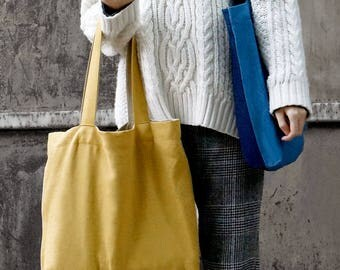 Indigo Dye Two-Tone Linen Tote Bag, Handmade, Shoulder Bag, Shopping Bag, Canvas Tote Bag, Blue, Navy, Plant dye, Yellow,Eco Bag,Solid Color