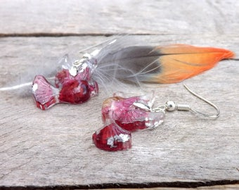 Real rose petal and leaf earrings silver