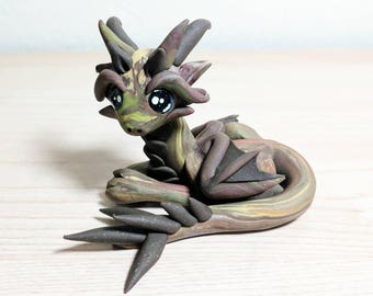 Polymer Clay Dragon - Hunter the Scrap Dragon - Cute Camo Swirled Mythical Creature Fantasy Sculpture - OOAK Hand Made FREE SHIPPING
