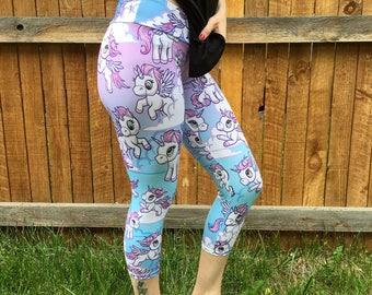 LEGGINGS - UNICORN Leggings, unicorn tights, pink leggings, yoga leggings, teal, white, unicorn yoga pants, WYNTERCO yoga tights
