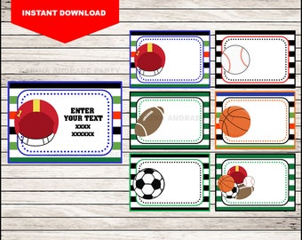 Sports Printable Cards, tags, book labels, stickers, kids cards, gift tags, labeling, scrapbooking EDITABLE INSTANT DOWNLOAD