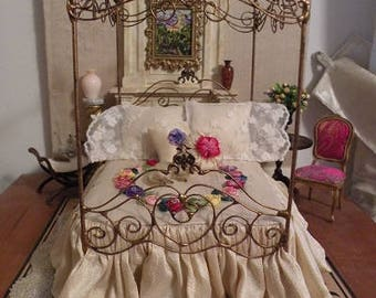 """Artisan Made Dollhouse Miniature Wrought Iron Look Dressed Canopy Bed """"ARABESQUE"""" 1:12 Scale Twin and Full, Half Scale"""