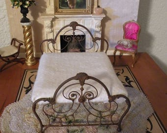 "Artisan Made Dollhouse Miniature Wrought Iron Look Bed ""GRACELYNNE"" 1:12 Scale Twin and Full, Half Scale"