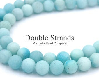 """Two 15"""" strands Blue Amazonite Beads Matte 10mm"""