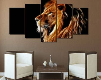 Lion Wall Art, Lion Canvas Art, Lion Wall Decor, Fire Lion 5 Piece Canvas print, Lion Art Framed
