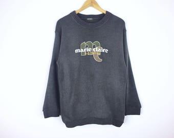 Rare!!! Vintage 90s Marie Claire Sweatshirt Big Logo Embroidery Pullover Jumper Sweater Hip Hop Swag Sportwear Tennis