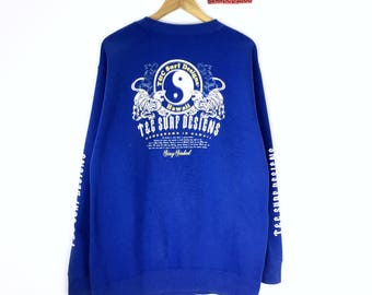 Rare!!! Vintage Surf Design Sweatshirt Town & Country Floral Hawaii Tiger Ying Yang Beach Surf Pullover Jumper Sweater Blue