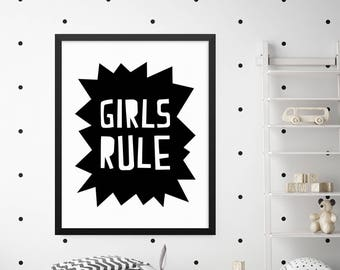 Girls Rule Print, Girls Room Decor, Girls Room Wall Art, Kids Wall Art, Kids Room Decor, Kids Wall Decor, Childrens Wall Art