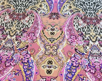 Paisley SILK Fabric by the Yard Double Boarder Printed Silk Fabric Paisley Fabric by the Yard