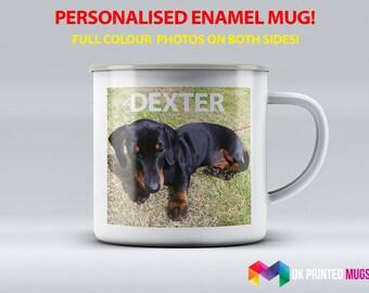 Premium Personalised Enamel Mug - Metal Camping Mug - Full Colour