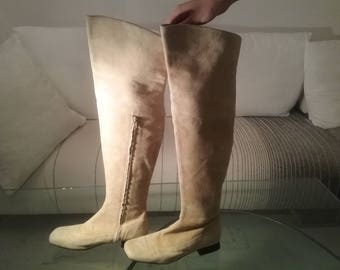 Boots boots beige Suede, made in Italy 60 years.