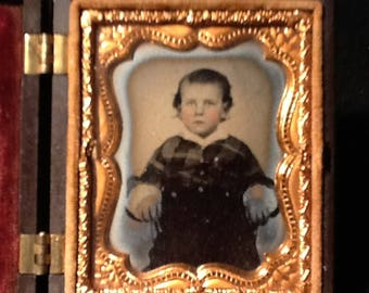 Antique Ambrotype Photo in thermo-plastic case