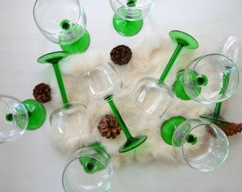 French Green Stemware Wineglass Set of 10 christmas/barcart/kitchen/drinkware/barware