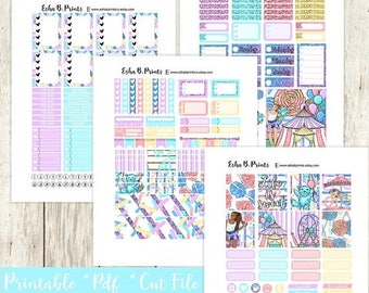 B2S SALE Carnival Girl Printable Planner Stickers/Weekly Kit/Erin Condren/Cutfiles Fall August Glam Festival Candy Glitter Fun Carnival