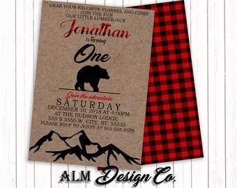 Lumberjack Invitation - Bear Invitation - Flannel Invitation -  Lumberjack Birthday - Lumberjack Birthday Invitation - Flannel Birthday