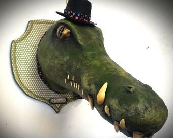 UNIQUE piece available - Trophy decorative handmade Crocodile head.
