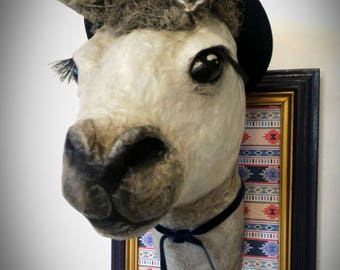 UNIQUE piece available - Trophy decorative handmade llama head.