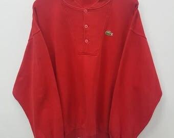 Vintage Chemise Lacoste Sweatshirts Button Down Style Nice Design XL Size