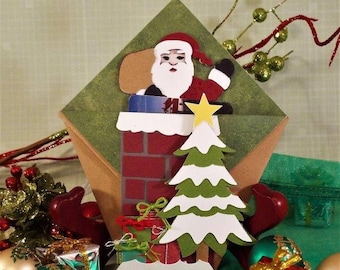 Santa's Coming Down the Chimney - handmade gift card holder for your Christmas treasures with a matching organza pouch - ORIGAMI