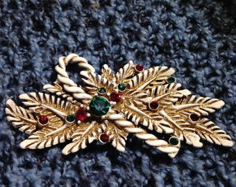 Vintage Very Unique Christmas White Candy Cane and Pine Leaves Brooch Enamel with Rhinestones Signed 11 W 30th St Inc