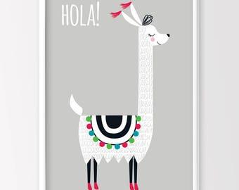 Llama Print, Alpaca Print, Monochrome Nursery, Nursery Decor, Monochrome Kids Room, Kids Printable Art